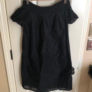 NWT- Black off-the-shoulder eyelet dress